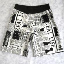 Black and White, Unique Newsprint Cotton Shorts